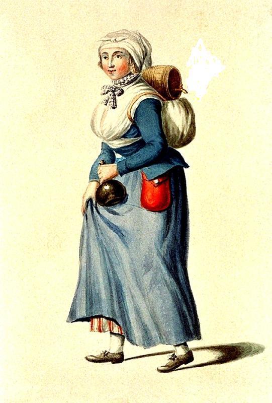 Nederlandse vivandiere uit 1799 met jak, door Jan Anthony